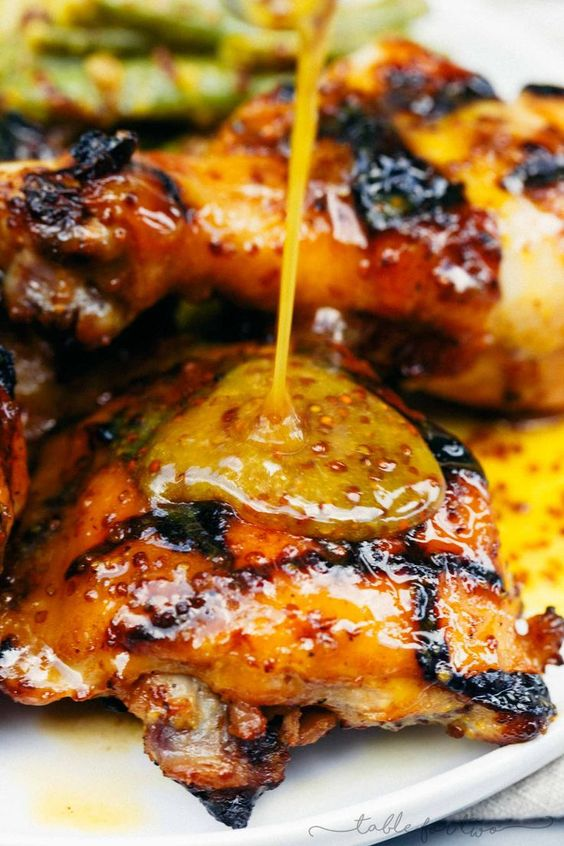 Grilled Honey Mustard Chicken with Green Beans Recipe