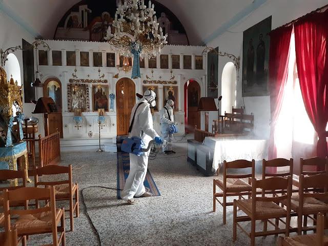 Αργολίδα: Μπαράζ απολυμάνσεων στο Ανυφί σε εκκλησίες και Κοινόχρηστους χώρους