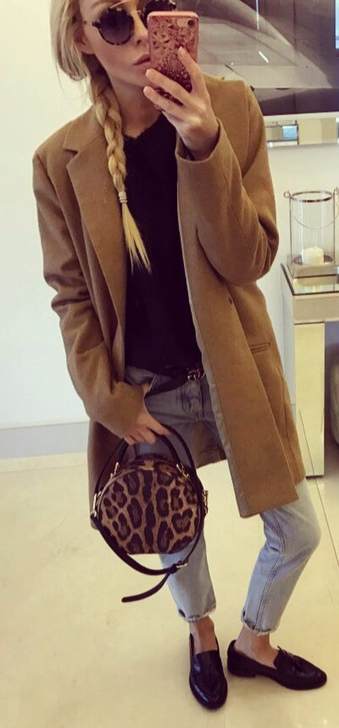 fall casual style perfection_nude cashmere coat + sweater + jeans + animal printed bag + loafers
