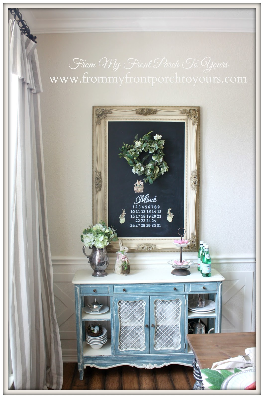 Spring Dining Room ChalkboardFrench Farmhouse Easter Dining Room-Vintage Side table- From My Front Porch To Yours