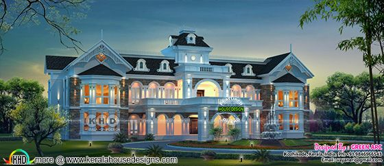 Luxury Colonial type house architecture rendering