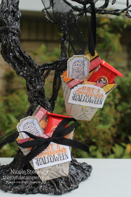 Ghostly Halloween Diaper Fold Candy Pouch by Nicole Steele The Joyful Stamper