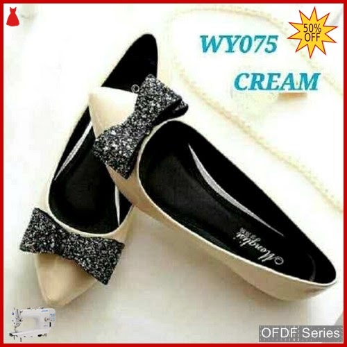 OFDF225 Sepatu Flat Cantik Glitter Flatshoes cream BMGShop