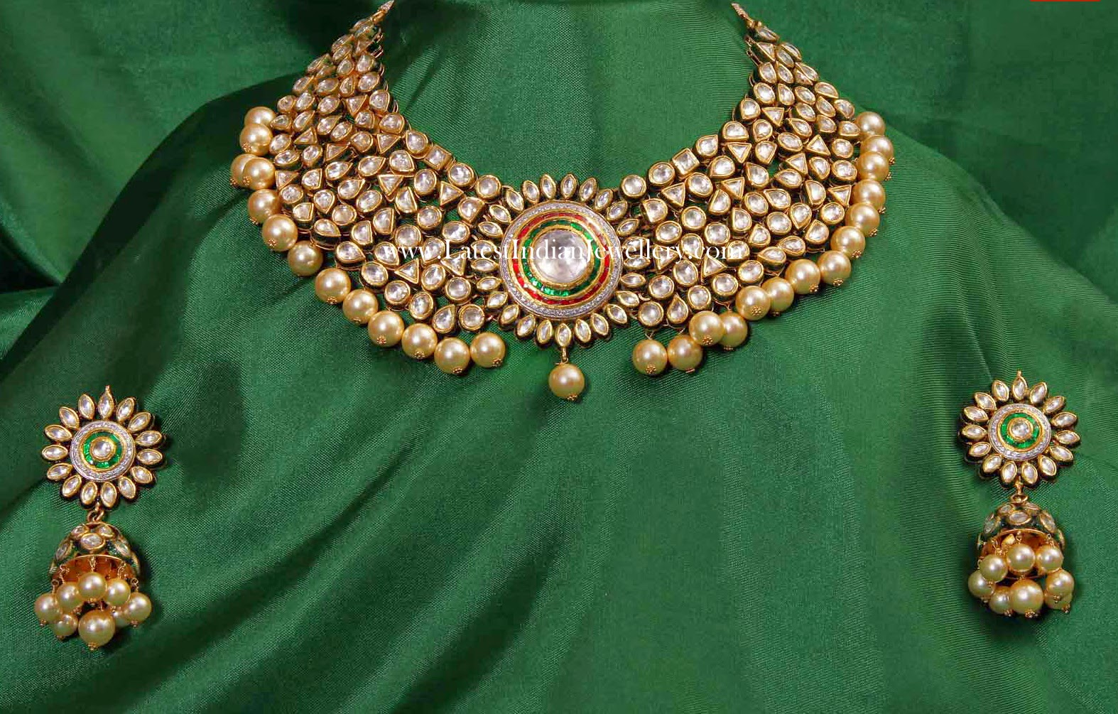 Floral Kundan Gold Necklace Jhumkas