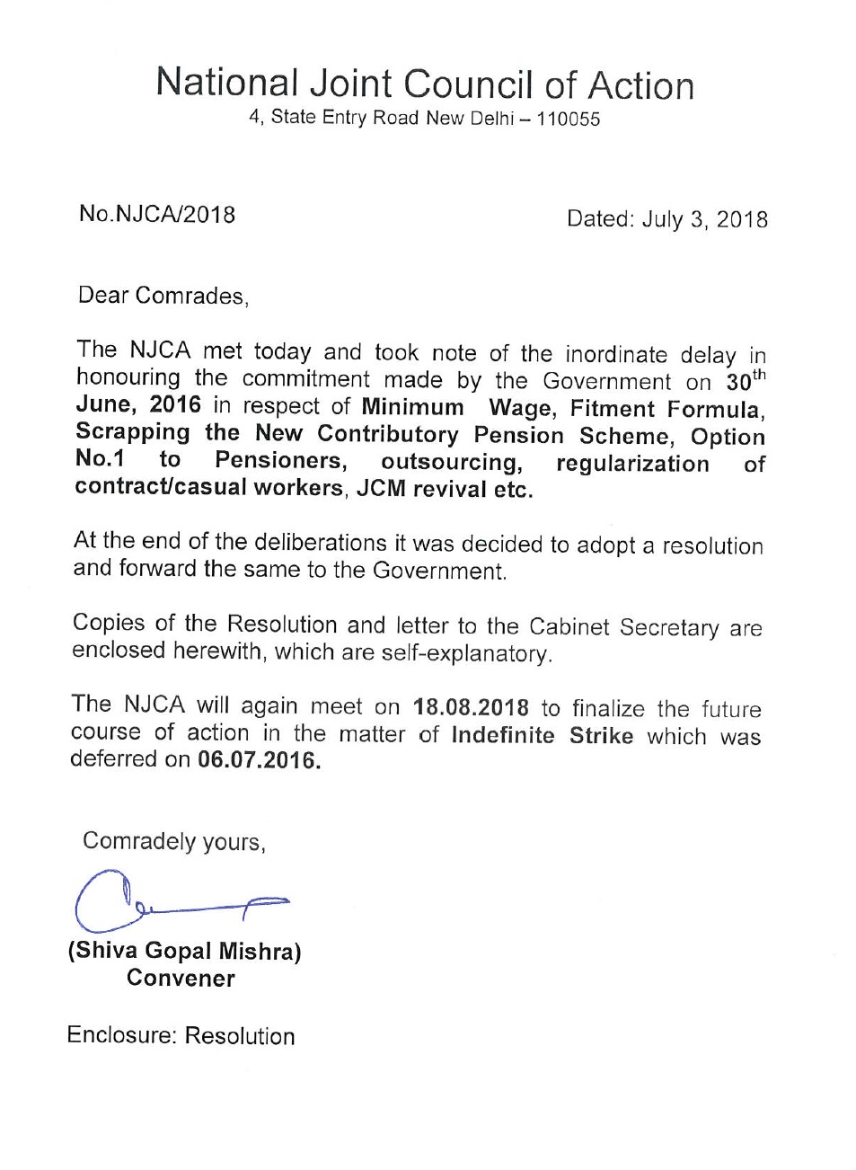 NJCA letter dated 03-07-2018