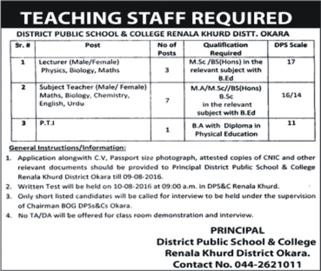 Lecturers & SS Jobs in District Public School & College Jobs in Pakistan
