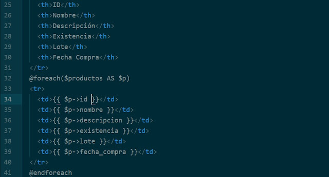 Llenar tabla en Laravel Framework