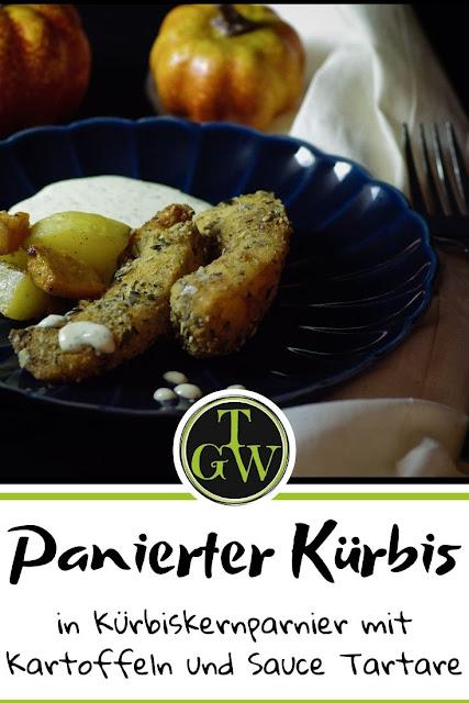 Panierter Kürbis mit Kartoffeln und Sauce Tartare #kürbis #herbst #kürbiskerne #kartoffeln #saucetartare