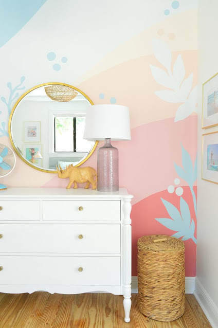 easy rainbow wall mural for kids room