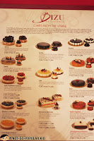 Cake menu in BIZU Patisserie and Cafe