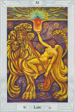 Thoth Tarot Atu Lust XI: Wedding of the Beast and his Bride
