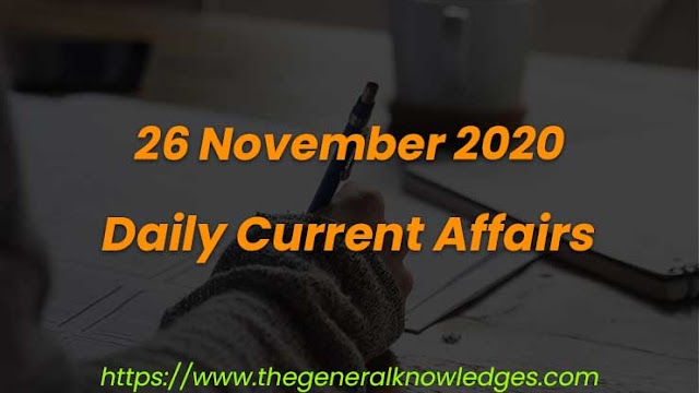 26 November 2020 Current Affairs Question and Answers in Hindi