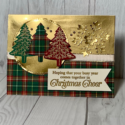 Pine Tree Christmas card using the Stampin' Up1 Perfectly Plaid Stamp Set