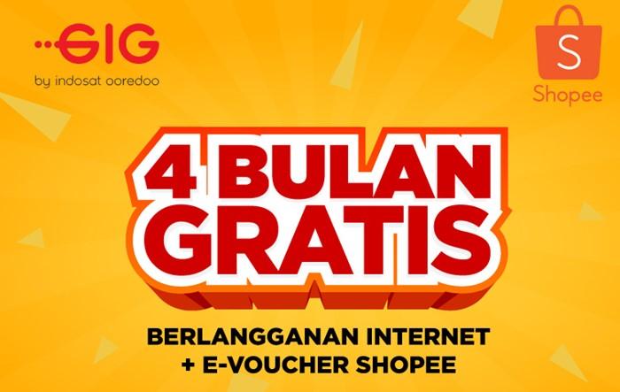 Promo Voucher Shopee 4 Bulan Langganan GIG Indosat Ooredoo - Shopee.co.id