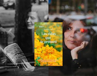 Foto de la autora y la portada de la novela