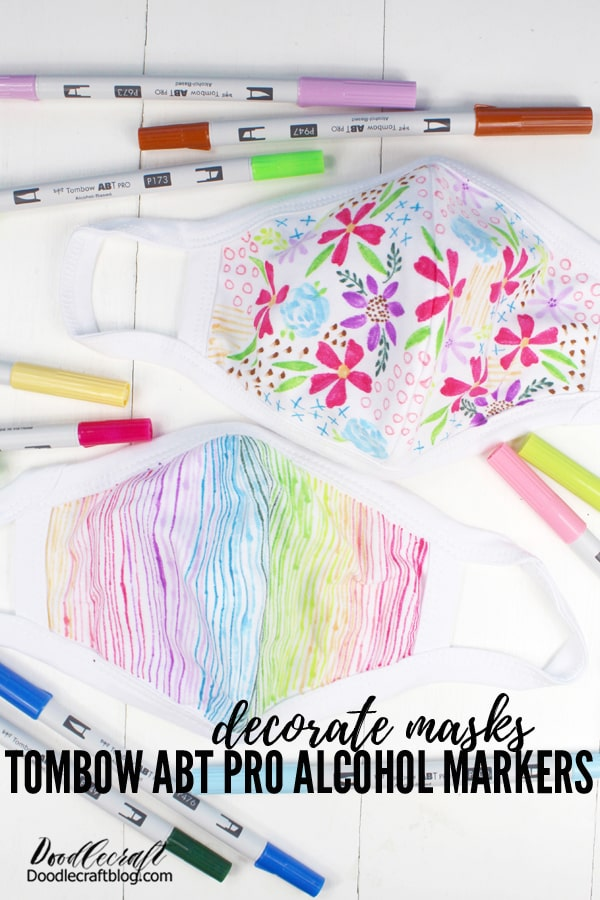How to Decorate Face Masks with Tombow ABT PRO Alcohol Ink Markers. Great way to make your mask match your personality!