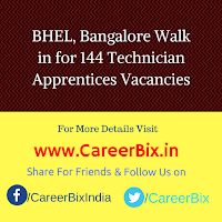 BHEL, Bangalore Walk in for 144 Technician Apprentices Vacancies