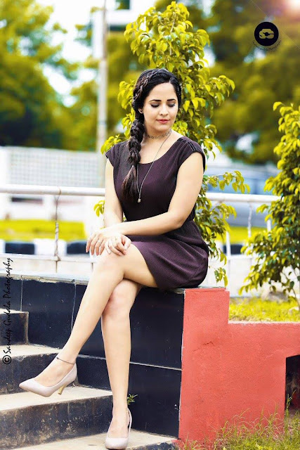 TV Anchor Anasuya Legs Show Photos In Maroon Dress Navel Queens