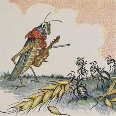 """""""The Ant and the Grasshopper"""" (1919), ilustração de Milo Winter (1886-1956) pertencente ao acervo do Projeto Gutenberg."""