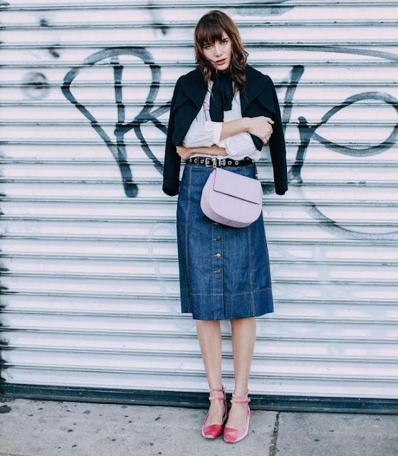 Natalie Lim Suarez with the Byrdie bag from Kate Spade's Cameron Street line. Photo: @katespadeny/Instagram