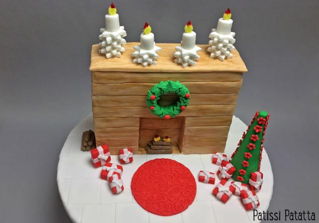 gâteau cheminée, gâteau de Noël, cake design, pâte à sucre, gâteau vanille et crème au café, crème au beurre au café, décors de Noël en pâte à sucre, gâteau rigolo, gâteau à thèmes