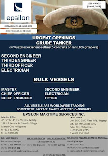 Current vacancy for seafarer join November - December 2018