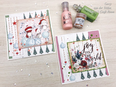 scrap cards with Fabscraps paper, WOW embossing and Nuvo drops