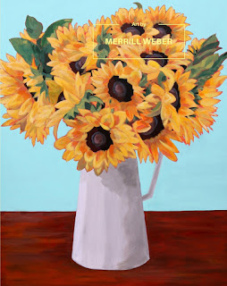 "Showstopper original 48"" x 60"" acrylic painting of big beautiful sunflowers, by Pennsylvania artist Merrill Weber"