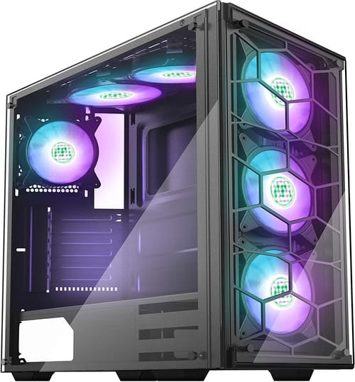 MUSETEX 907N6 RGB Fans ATX Mid-Tower PC Case