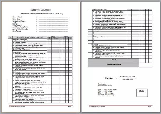 Instrumen Supervisi Pembelajaran / Supervisi Akademik Kurikulum 2013 dan KTSP