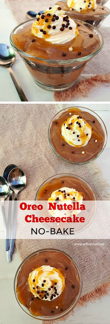 An easy, no-bake Oreo Nutella Cheesecake for a last minute dessert