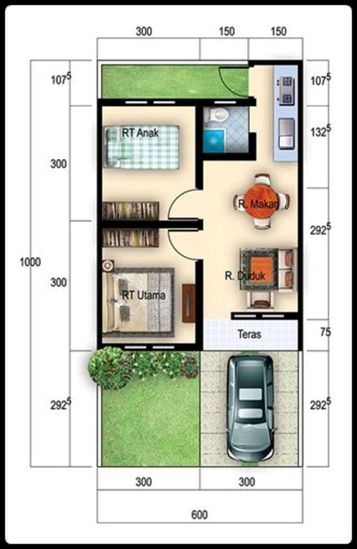 gambar denah rumah luas tanah 200 m2 4