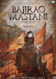 The back of an armed soldier with fully covered dress of warrior with the background of flags and fort in poster of Bollywood movie Bajirao Mastani