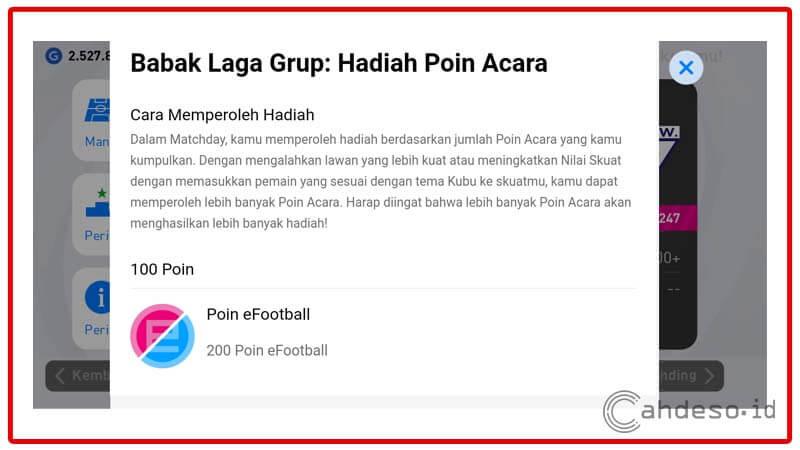 Hadiah Poin eFootball dari Kompetisi Matchday