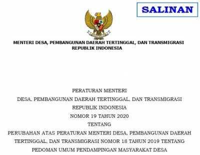Permendes Nomor 19 Tahun 2020