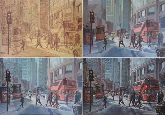 London landscape Liverpool street WIP art Martin Davey