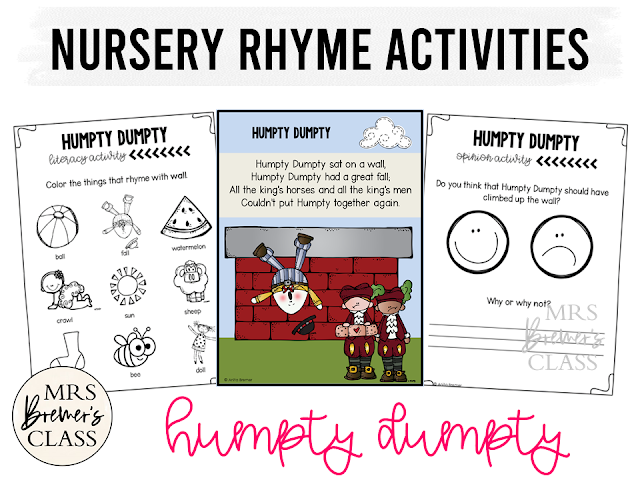 Humpty Dumpty activities unit with literacy and math Common Core aligned companion activities for Nursery Rhymes in Kindergarten