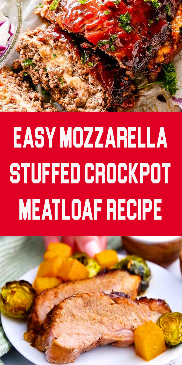 Mozzarella Stuffed Crockpot Meatloaf - Easy, juicy, and delicious Crockpot Meatloaf stuffed with melty cheese and prepared in the slow cooker! #meatloafrecipes #crockpotmeatloaf #crockpotrecipes