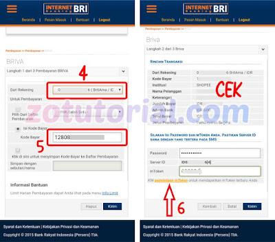 Tutorial Bayar Shopee Lewat Internet Banking Bank BRI (iBanking)