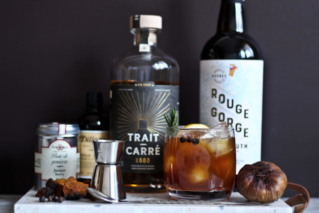 trait-carre-1665,gin-quebecois,distillerie-de-quebec,vermouth-rouge-gorge,madame-gin