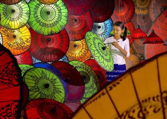 ミャンマーの伝統工芸品、パテインの傘が幻想的で美しすぎる【a】