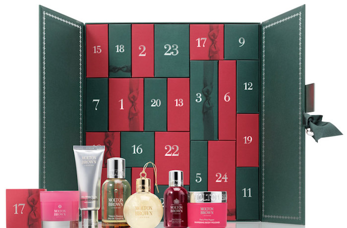 Contents and spoilers of the Molton Brown Beauty Advent Calendar for Holiday 2017, ships worldwide.