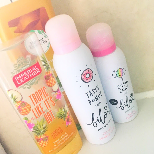 Products including Herbal Essence Conditioner, Bilou Shower Foams and Imperial Leather shower gel