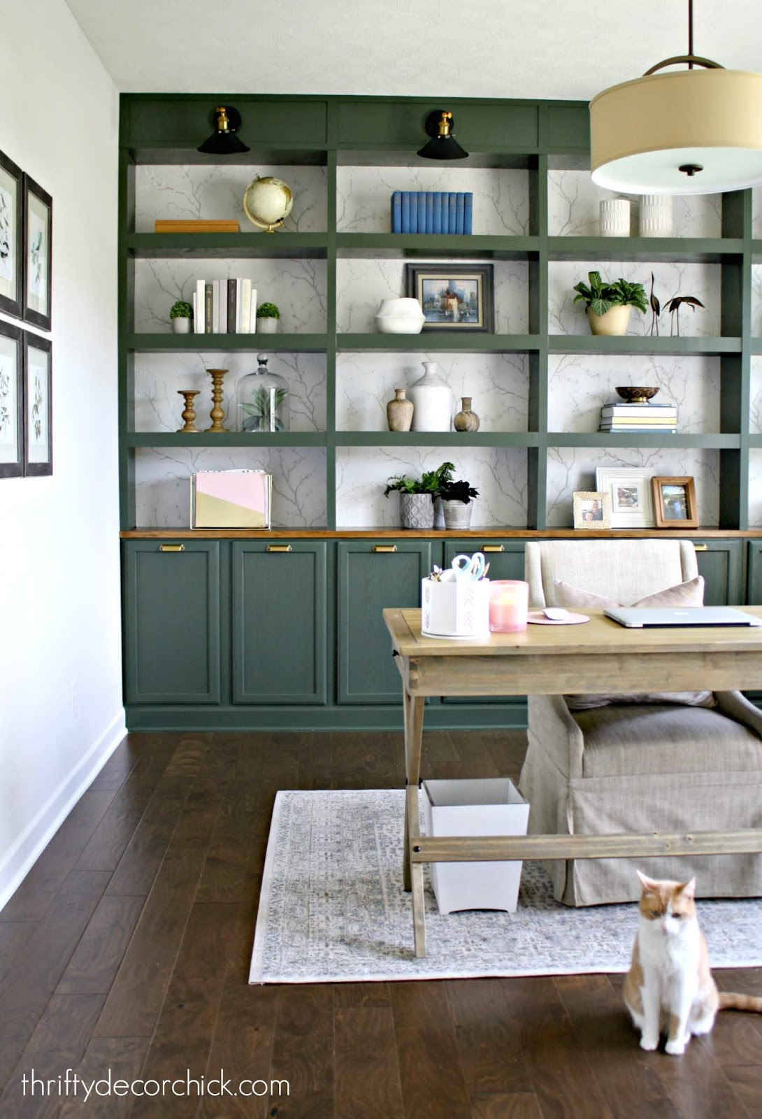 DIY wall of bookcases with storage