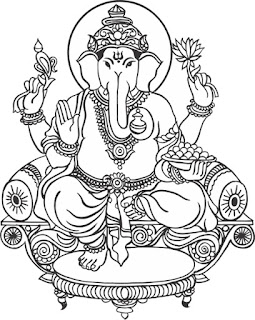 ganpati clipart black white images collection