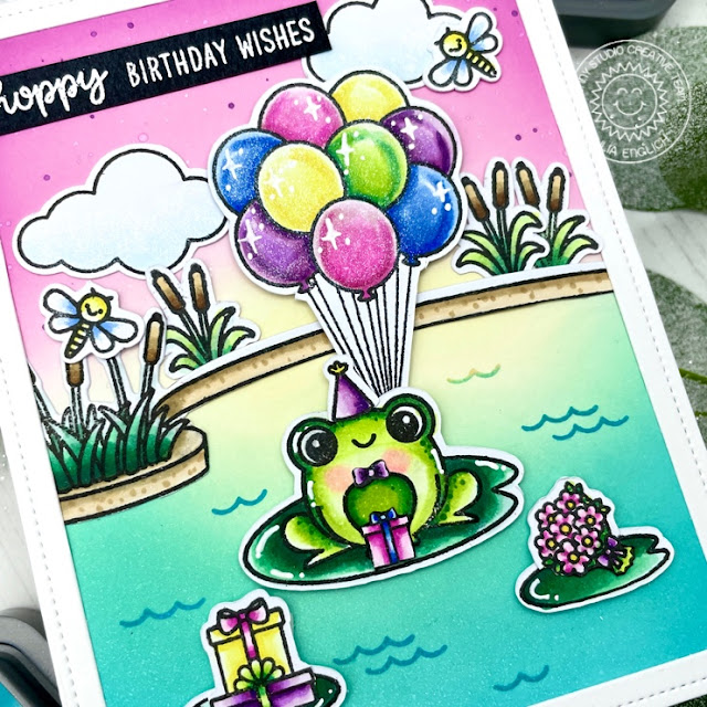 Sunny Studio Stamps: Feeling Froggy Country Scenes Floating By Frog Themed Card by Julia Englich