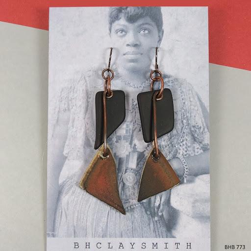 Pot Shard & Sea Glass Earrings