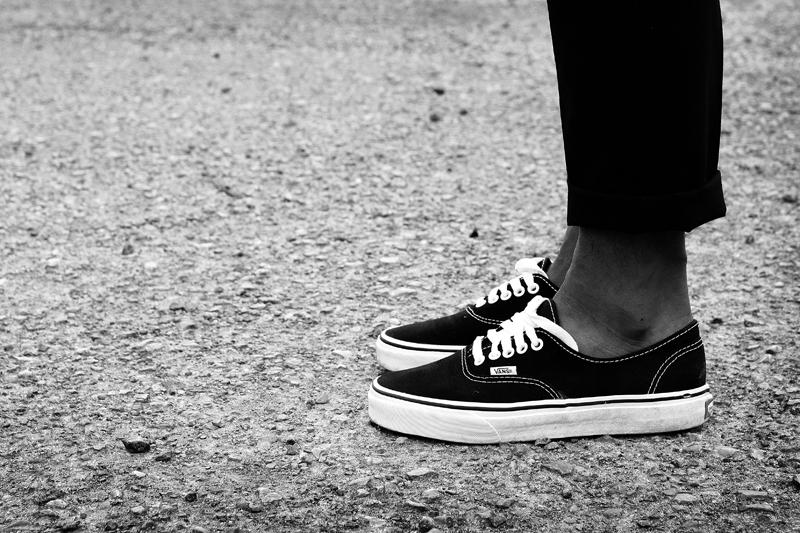 Vans Authentic Black White On Feet