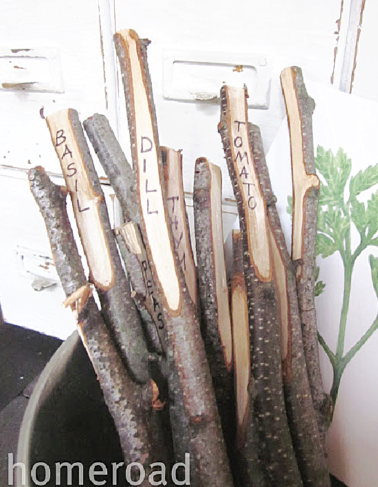 garden stakes in a pail