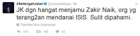 Dituding Ernest Terkait Teroris, Ini Klarifikasi Zakir Naik